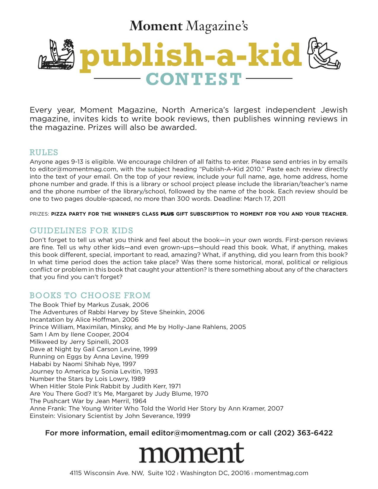 Moment's Publish-a-Kid Contest